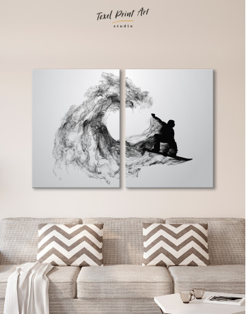 Black and White Abstract Snowboarder Canvas Wall Art - image 10