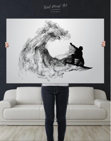 Black and White Abstract Snowboarder Canvas Wall Art - image 9