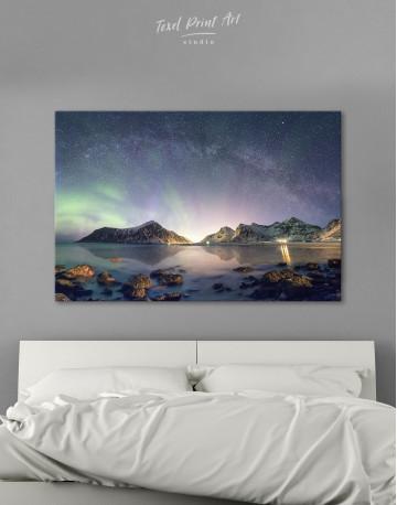 Polar Light Mountain Landscape Canvas Wall Art