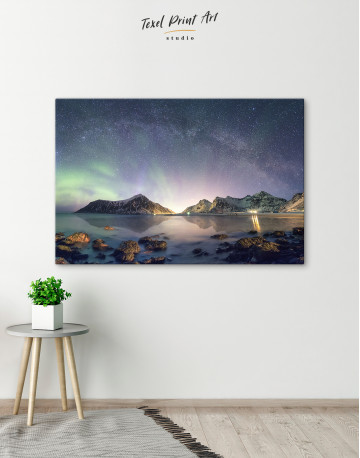 Polar Light Mountain Landscape Canvas Wall Art - image 4