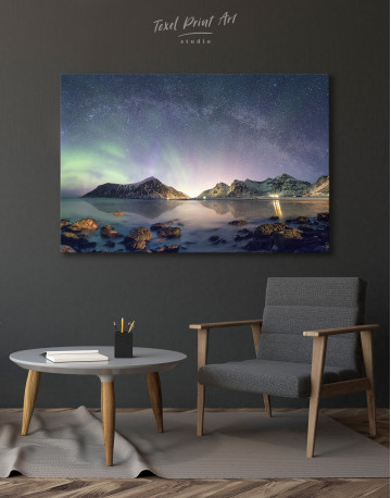 Polar Light Mountain Landscape Canvas Wall Art - image 6