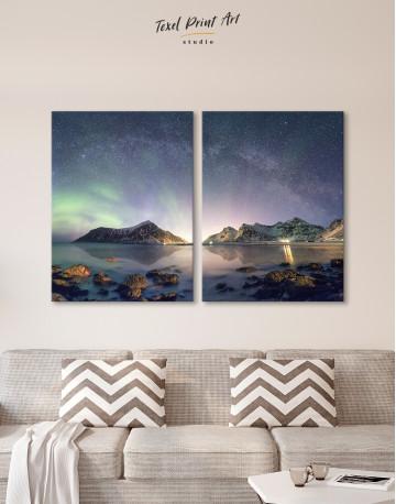 Polar Light Mountain Landscape Canvas Wall Art - image 9