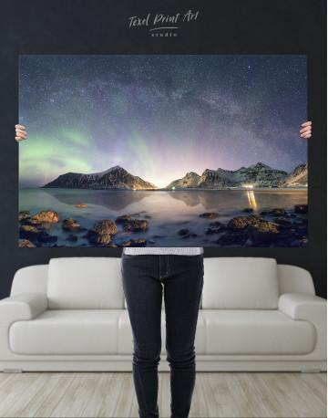 Polar Light Mountain Landscape Canvas Wall Art - image 1
