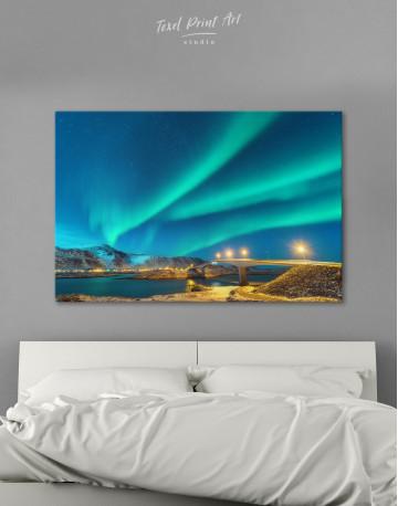 Aurora Borealis Over Mountains Canvas Wall Art