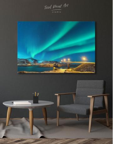 Aurora Borealis Over Mountains Canvas Wall Art - image 3