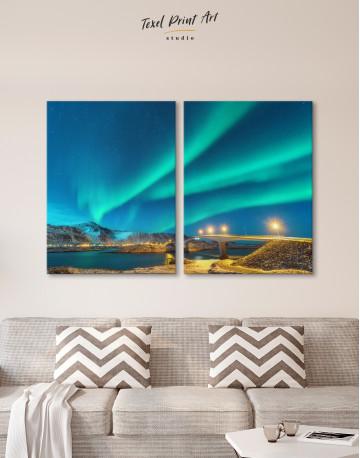 Aurora Borealis Over Mountains Canvas Wall Art - image 9