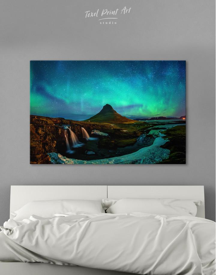 Kirkjufell  Northern Lights Landscape Canvas Wall Art