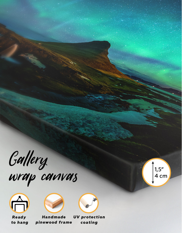 Kirkjufell  Northern Lights Landscape Canvas Wall Art - Image 3