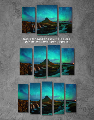 Kirkjufell  Northern Lights Landscape Canvas Wall Art - image 6
