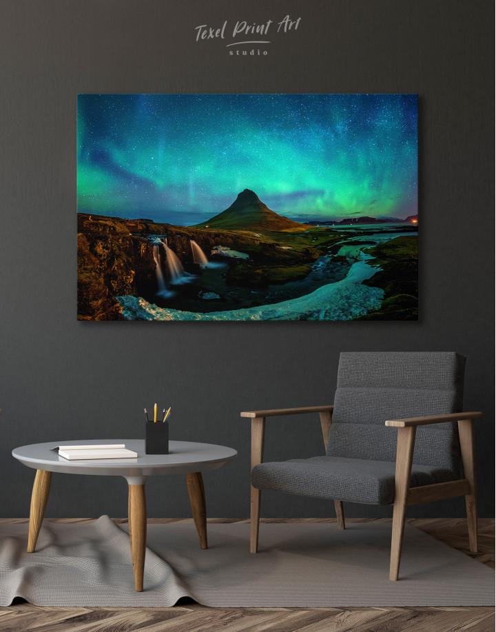 Kirkjufell  Northern Lights Landscape Canvas Wall Art - Image 7