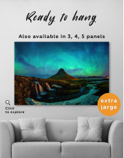 Kirkjufell  Northern Lights Landscape Canvas Wall Art - Image 8