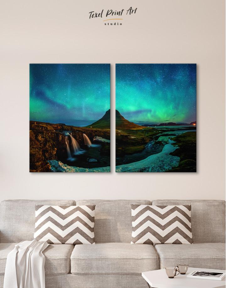 Kirkjufell  Northern Lights Landscape Canvas Wall Art - Image 2
