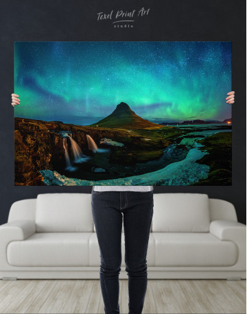 Kirkjufell  Northern Lights Landscape Canvas Wall Art - image 1