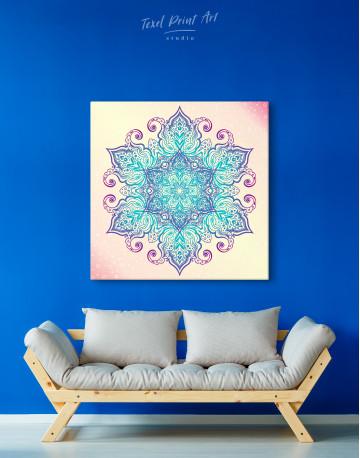 Blue and Purple Mandala Canvas Wall Art - image 2