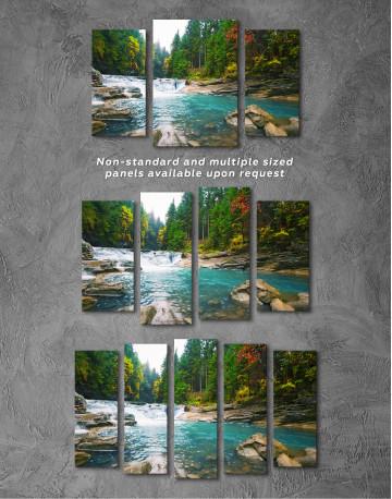 Mountain River Waterfall Canvas Wall Art - image 5