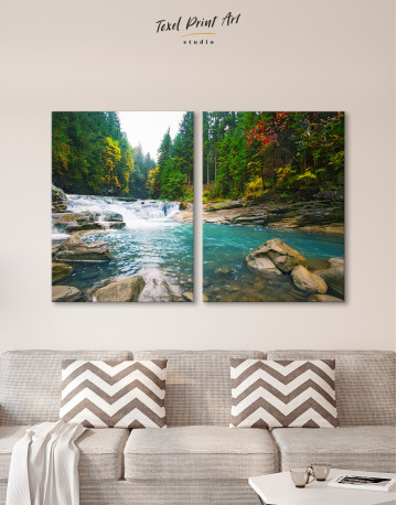 Mountain River Waterfall Canvas Wall Art - image 9