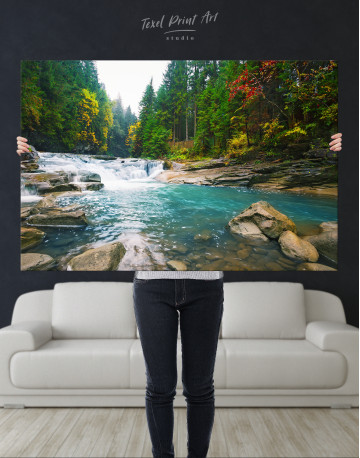 Mountain River Waterfall Canvas Wall Art - image 1