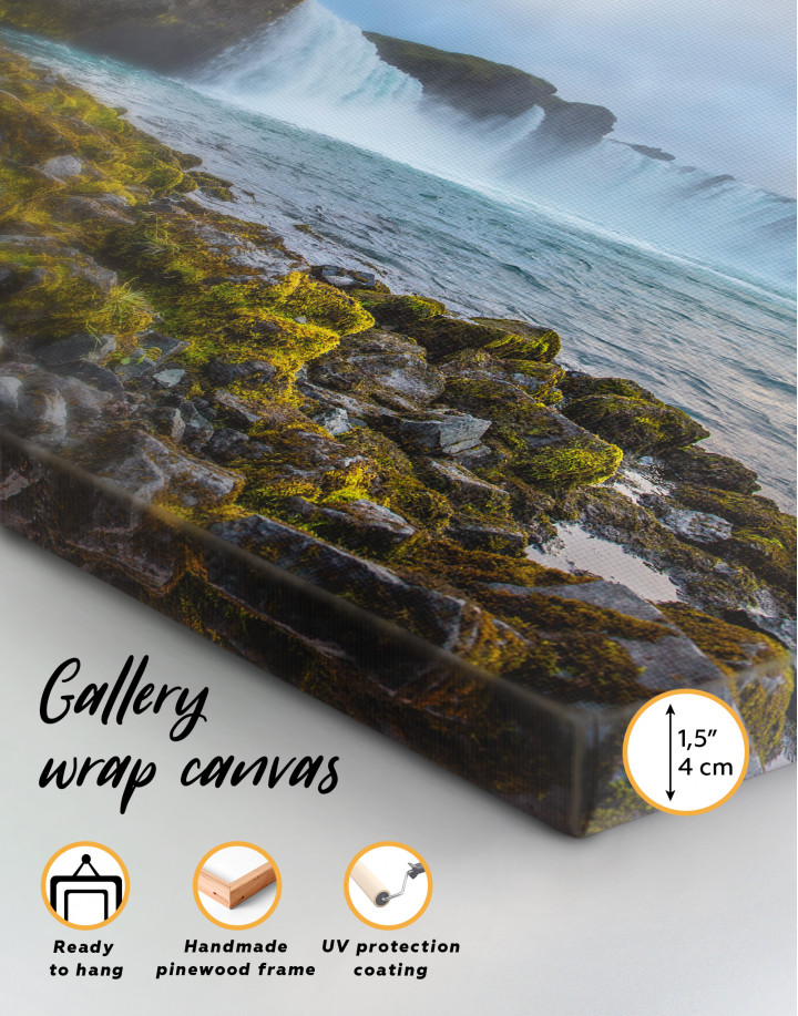 Bottom Godafoss Iceland Waterfall Canvas Wall Art - Image 7