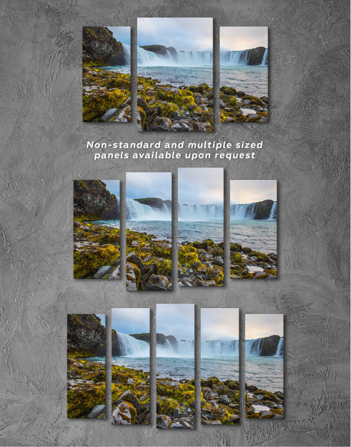 Bottom Godafoss Iceland Waterfall Canvas Wall Art - Image 4