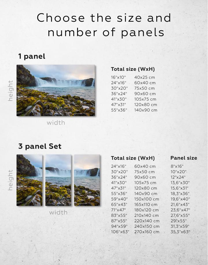 Bottom Godafoss Iceland Waterfall Canvas Wall Art - Image 2