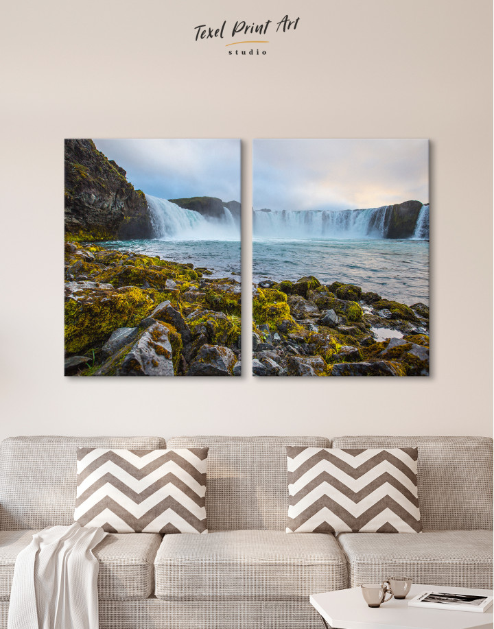 Bottom Godafoss Iceland Waterfall Canvas Wall Art - Image 10
