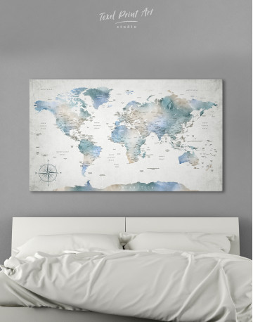 Push Pin Watercolor World Map Canvas Wall Art