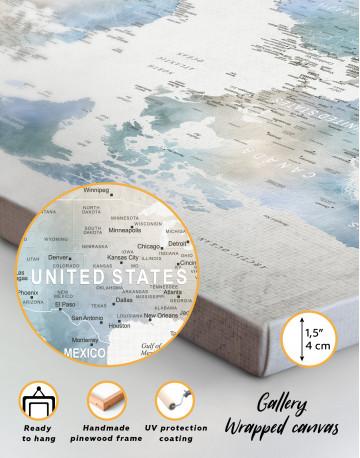 Push Pin Watercolor World Map Canvas Wall Art - image 6