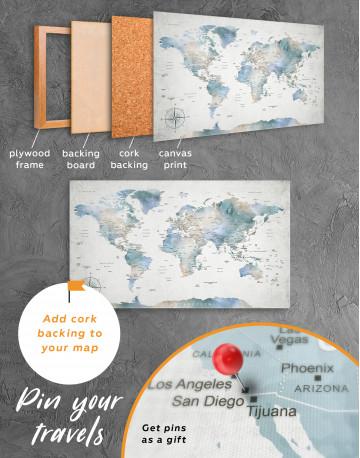 Push Pin Watercolor World Map Canvas Wall Art - image 10