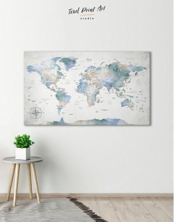 Push Pin Watercolor World Map Canvas Wall Art - image 5