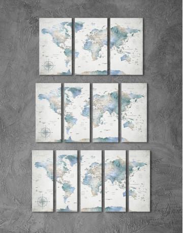 Push Pin Watercolor World Map Canvas Wall Art - image 4