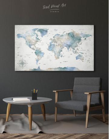 Push Pin Watercolor World Map Canvas Wall Art - image 2