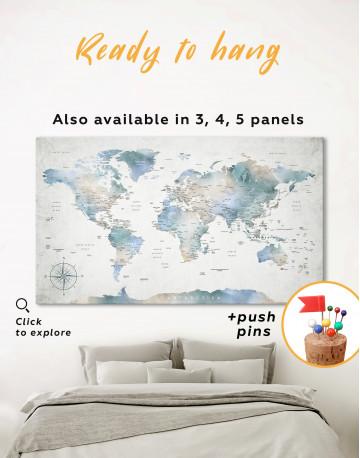 Push Pin Watercolor World Map Canvas Wall Art - image 3