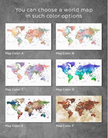 Push Pin Watercolor World Map Canvas Wall Art - image 8