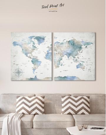 Push Pin Watercolor World Map Canvas Wall Art - image 7