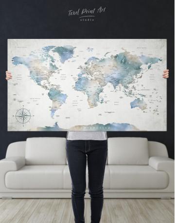 Push Pin Watercolor World Map Canvas Wall Art - image 9
