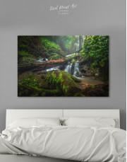 Forest Waterfall Scene Canvas Wall Art