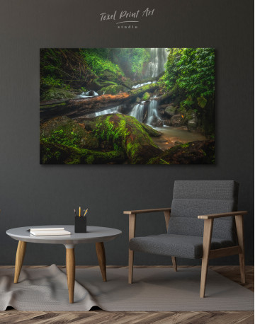 Forest Waterfall Scene Canvas Wall Art - image 4