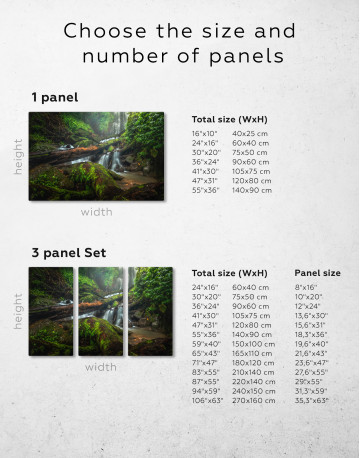 Forest Waterfall Scene Canvas Wall Art - image 2