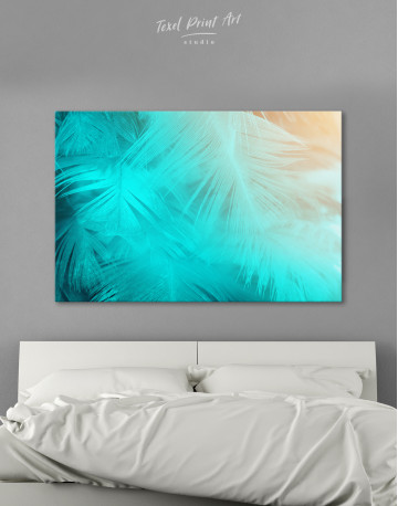 Light Teal and Orange Feather Canvas Wall Art