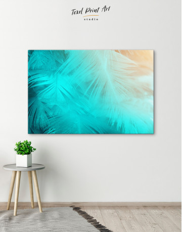 Light Teal and Orange Feather Canvas Wall Art - image 6