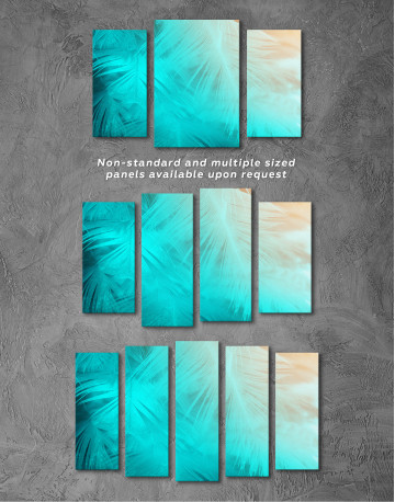Light Teal and Orange Feather Canvas Wall Art - image 5