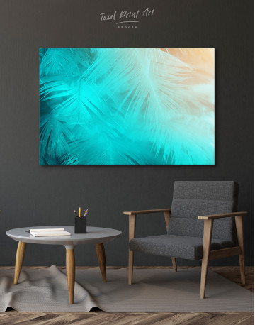 Light Teal and Orange Feather Canvas Wall Art - image 4