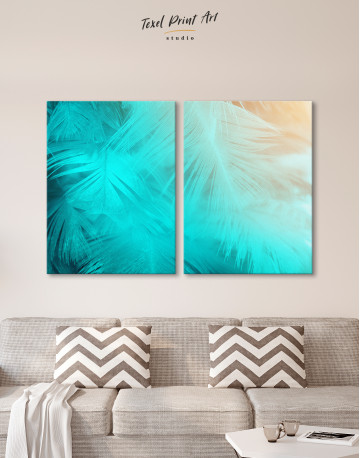 Light Teal and Orange Feather Canvas Wall Art - image 10