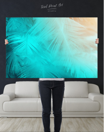 Light Teal and Orange Feather Canvas Wall Art - image 9