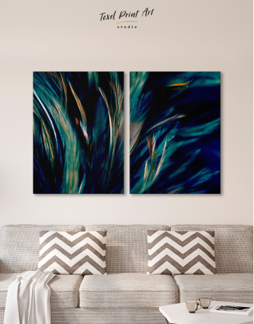 Colorful Chicken Feathers Canvas Wall Art - image 1