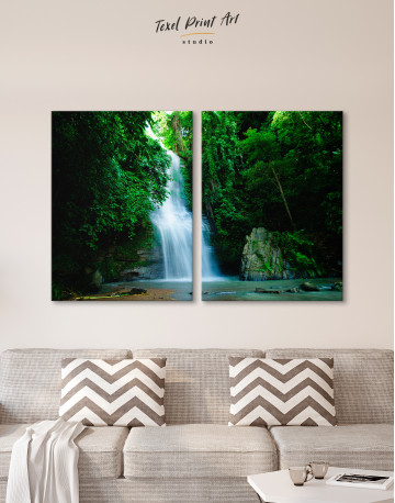 Forest Waterfall Canvas Wall Art - image 1