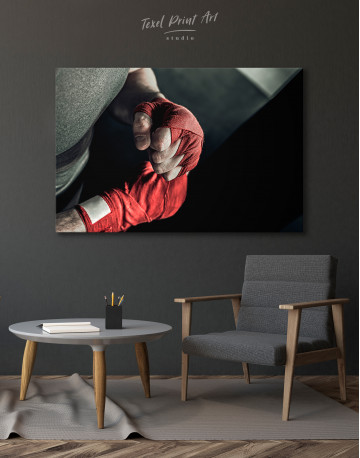 Gray and Red Boxer's Hands Wrapped in Tape Canvas Wall Art - image 4