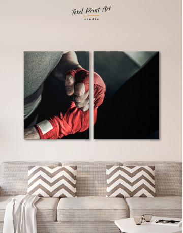 Gray and Red Boxer's Hands Wrapped in Tape Canvas Wall Art - image 9