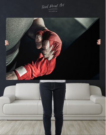 Gray and Red Boxer's Hands Wrapped in Tape Canvas Wall Art - image 10