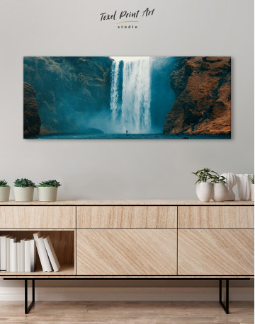 Panoramic Skogafoss Waterfall Canvas Wall Art